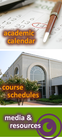 pic that contains image map links to academic calendar, course schedules, and media & resources